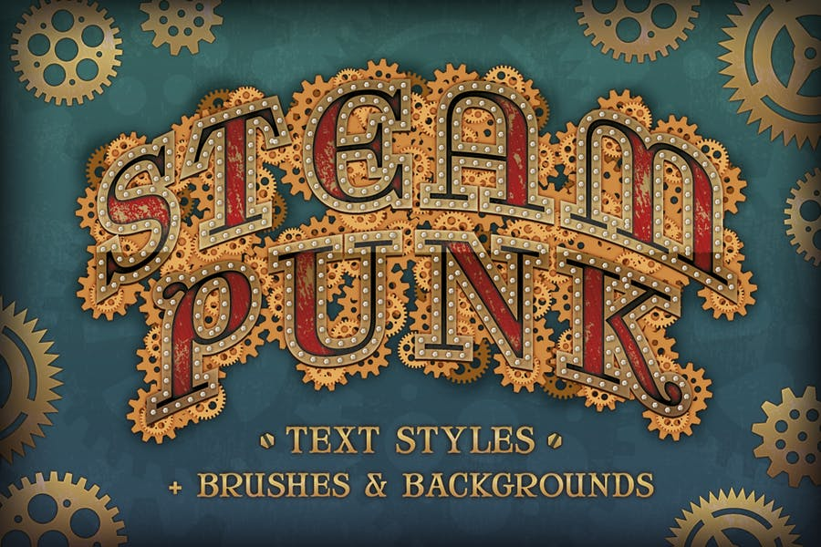 Steam Punk Text Styles, Brushes and Backgrounds