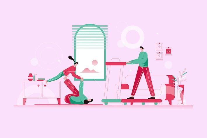 Thumbnail for Family Morning Exercise - Vector Illustration