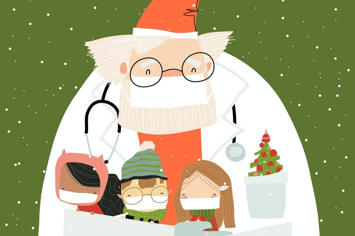 Santa claus wearing a protective mask and doctor