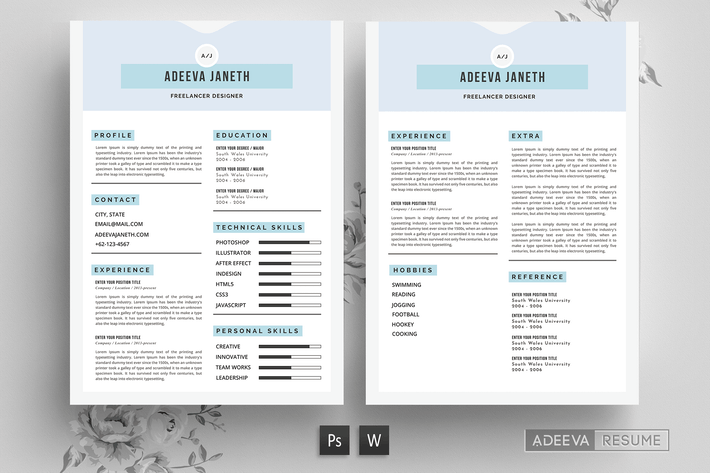 Thumbnail for Simple Resume Template Janeth