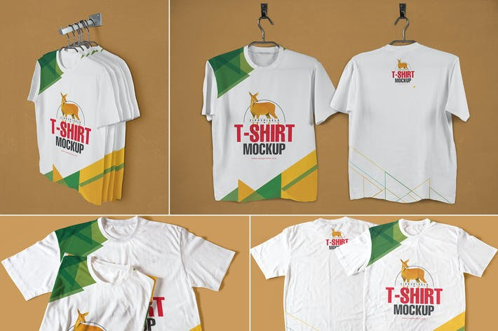 Thumbnail for Modisch Rundhals T-Shirts Mock-ups