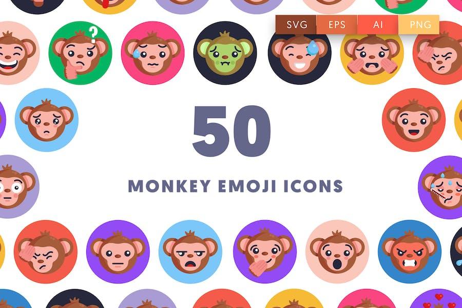 50 Affen Emoji Icons