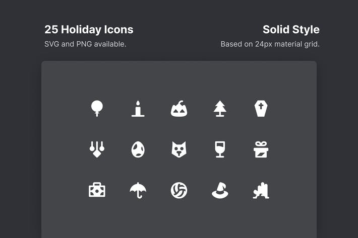 Thumbnail for Holiday Icons - Solid Style