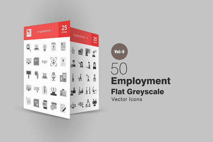 Thumbnail for 50 Employment Greyscale Icons