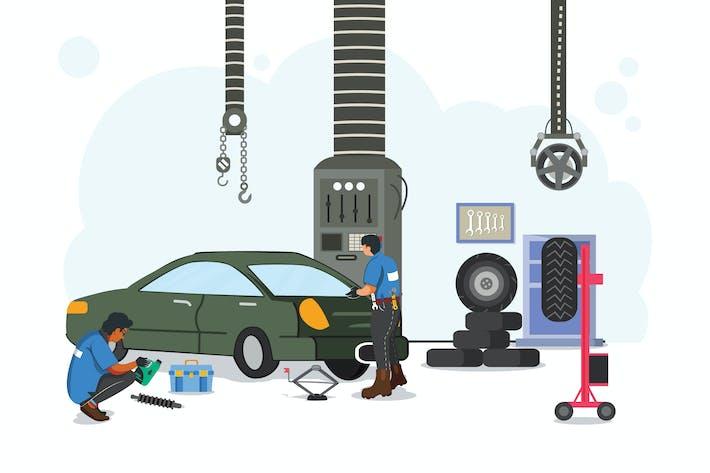 Car Repair at Workshop Illustration