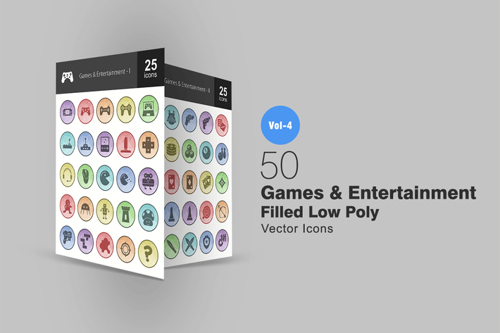 Thumbnail for 50 Games & Entertainment Filled Low Poly Icons