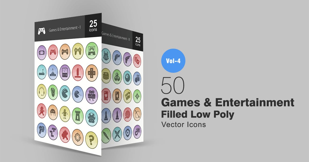 Download 50 Games & Entertainment Filled Low Poly Icons by IconBunny