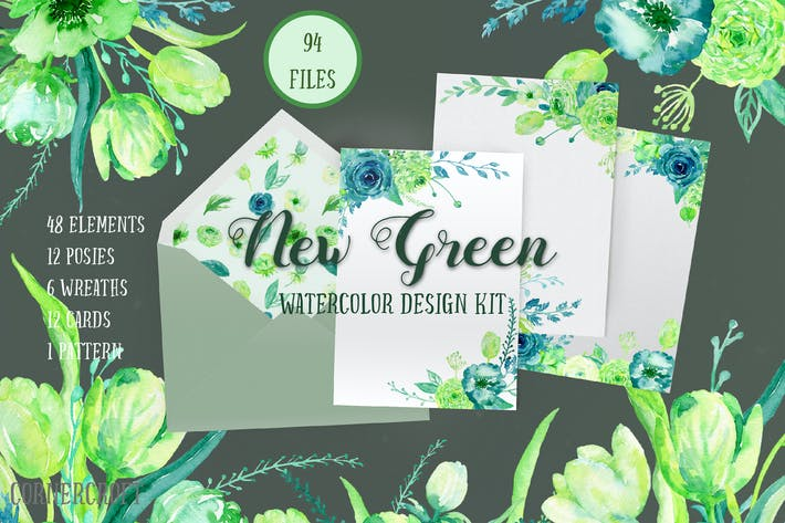 Thumbnail for Watercolor Design Kit New Green