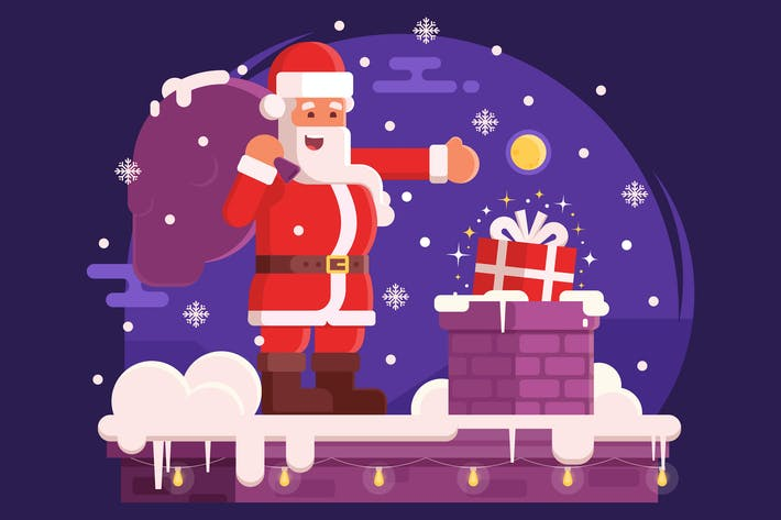 Thumbnail for Christmas Scene with Santa Claus on Roof