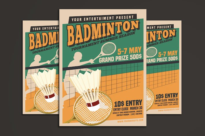Badminton Tournament Vintage Style By Muhamadiqbalhidayat On Envato