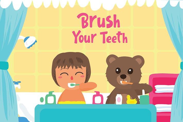Thumbnail for Brosse Dents - Illustration Vecteur