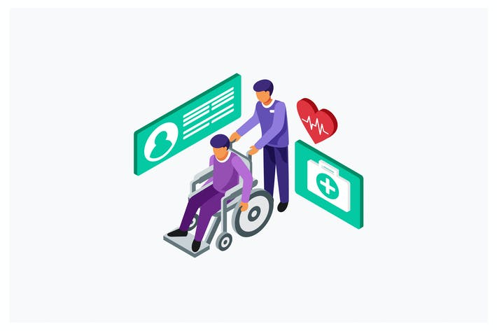 Thumbnail for Isometric Carry Patient in Wheelchair Illustration