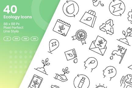 40 Ökologie Icons Set - Linie