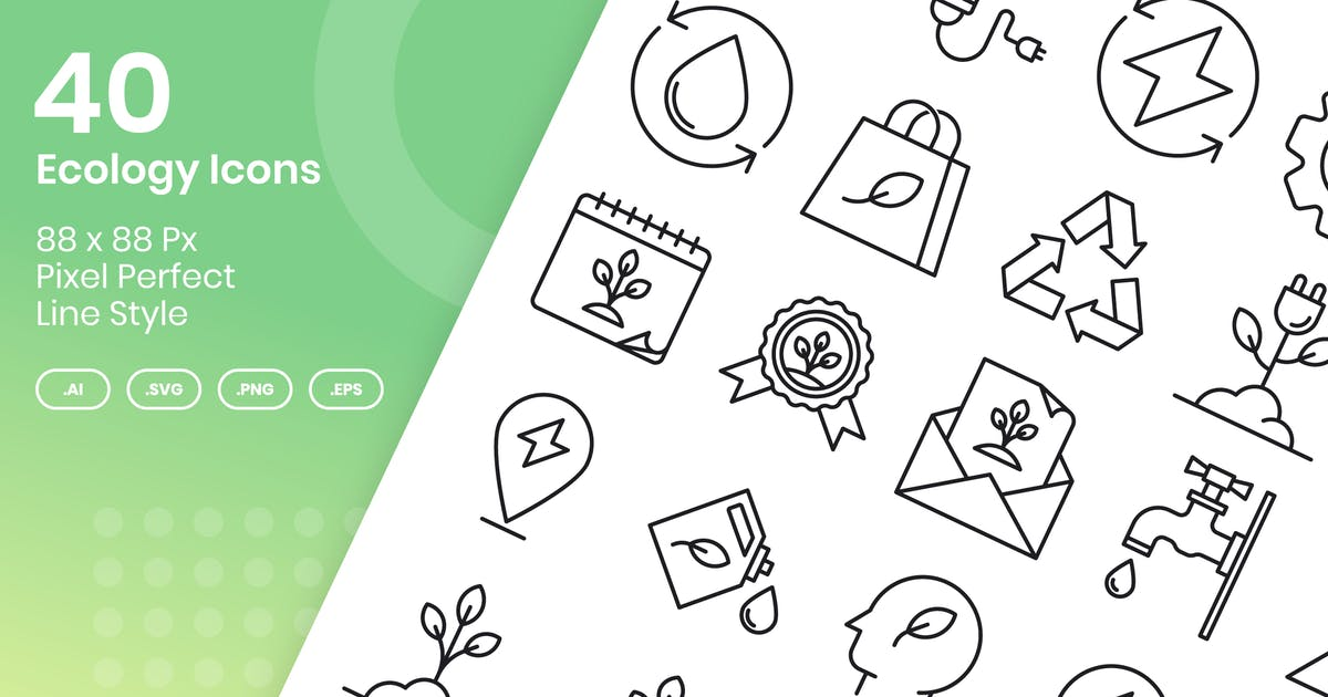Download 40 Ecology Icons Set - Line by kmgdesignid