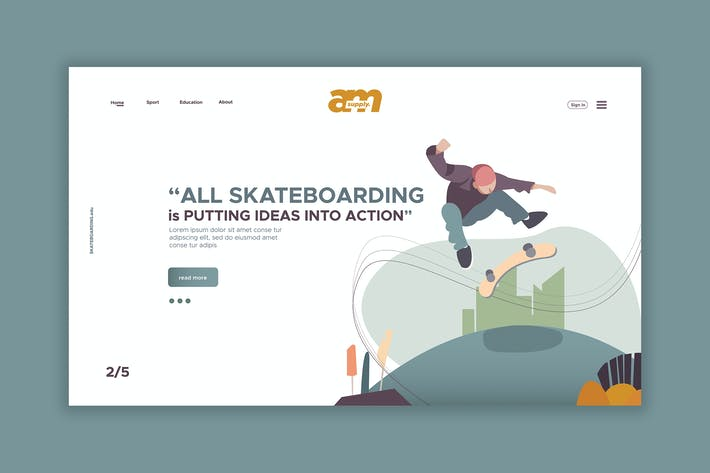 Thumbnail for Skateboarding - Web Header & Landing Page