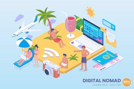 Isometric Digital Nomad Concept