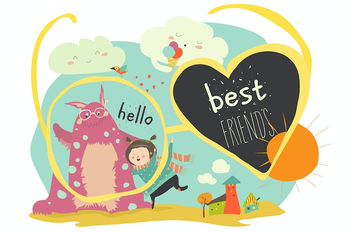 Thumbnail for Happy girl with her monster. Vector illustration