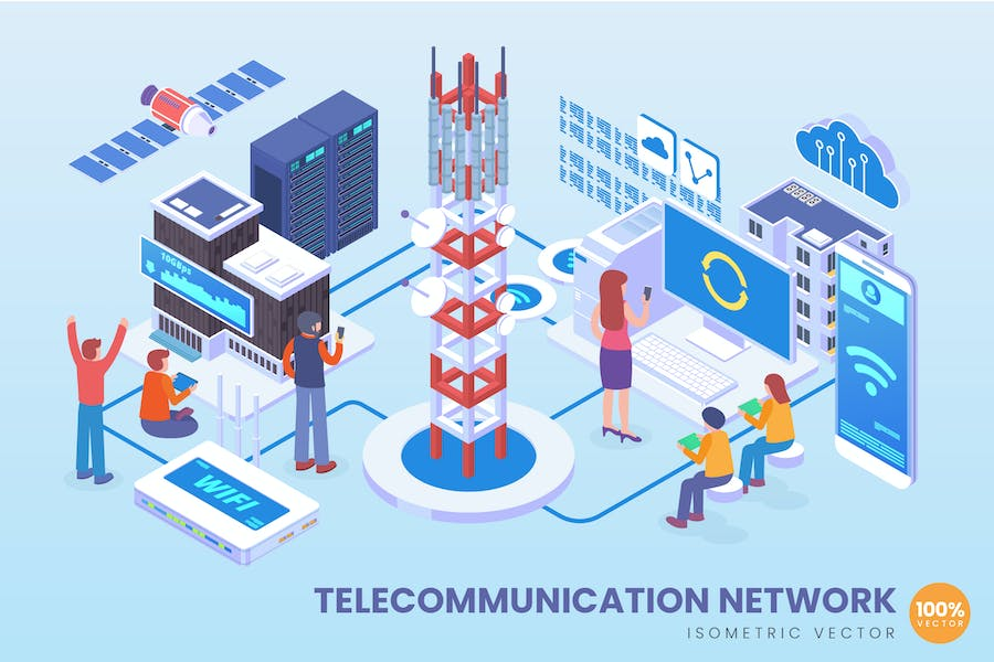 Isometric Telecommunication Network Vector Concept