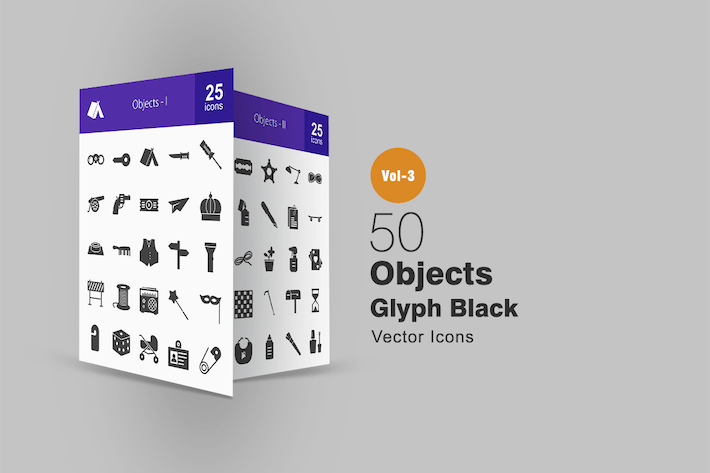 Thumbnail for 50 Objects Glyph Icons