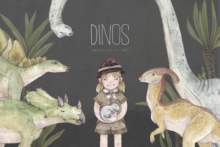 DINOSAURS watercolor set