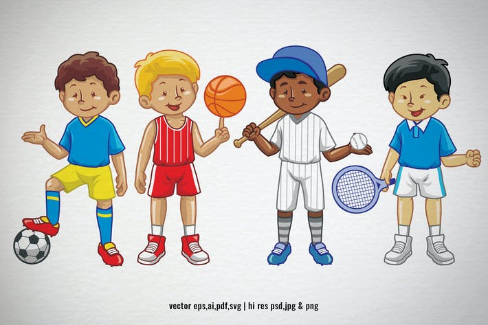 Thumbnail for set cartoon of kids in various sport equipment