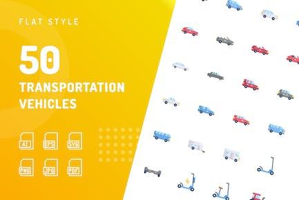 Transportfahrzeuge Flache Icons