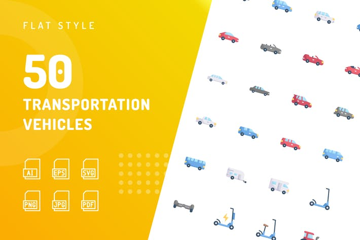 Thumbnail for Transportation Vehicles Flat Icons