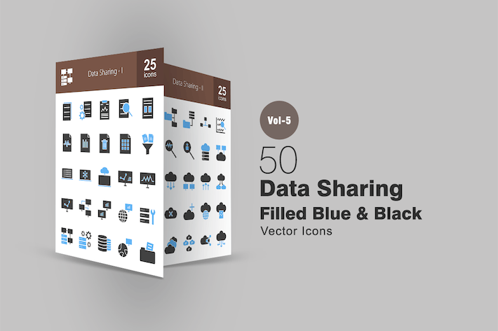 Thumbnail for 50 Data Sharing Blue & Black Icons