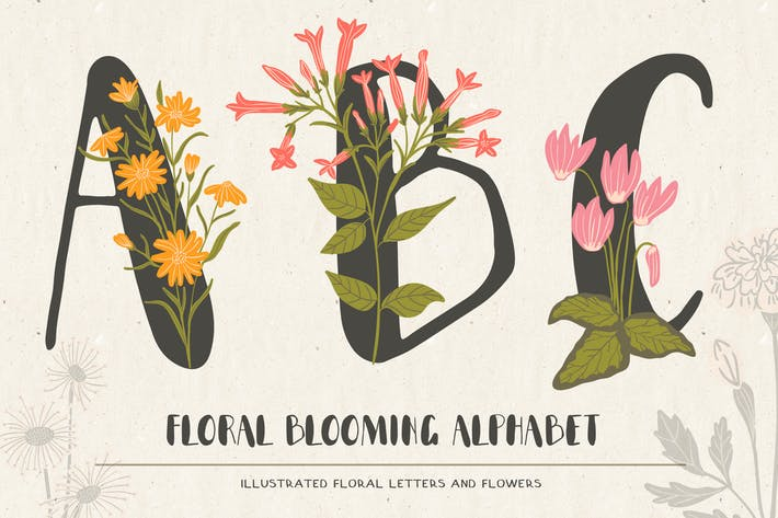 Cover Image For Floral Illustrated Alphabet