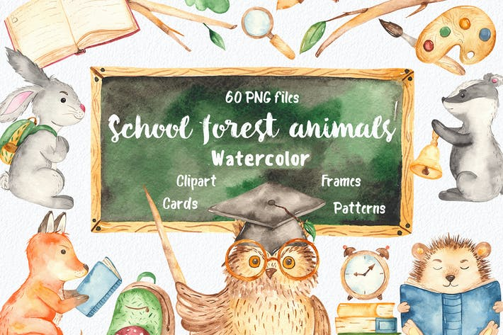 Watercolor school forest animals collection