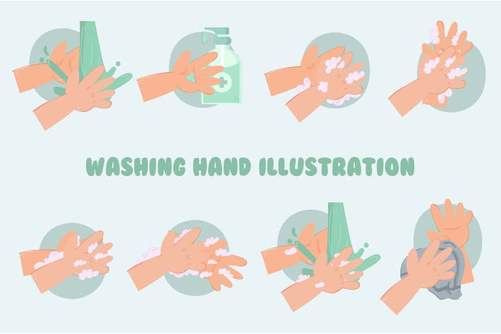 Thumbnail for Washing Hand Illustration Pack