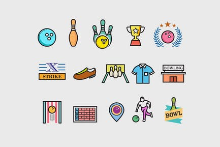 15 Ten Pin Bowling Icons