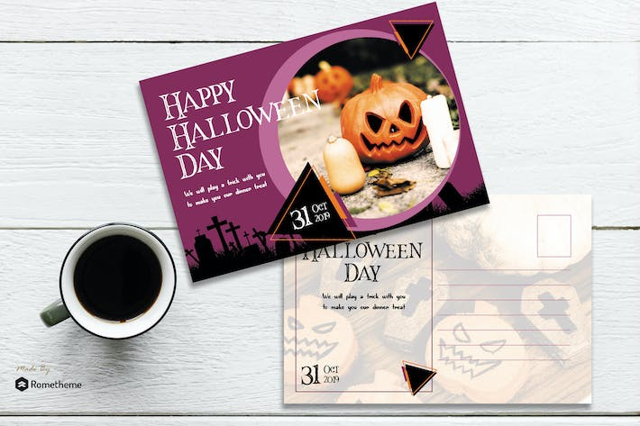 Thumbnail for TRICKY - Halloween Postcard Template