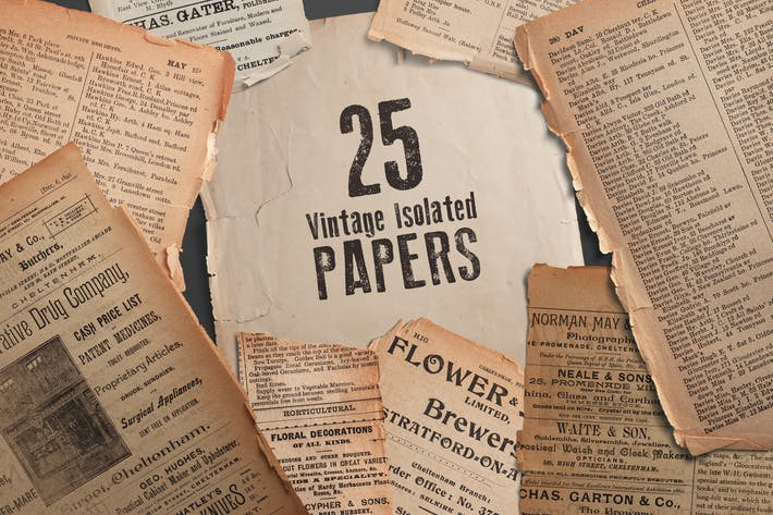 Thumbnail for 25 Vintage Isolated Papers