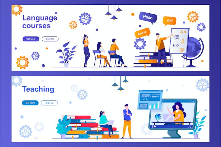 Language Courses and Teaching Web Banners