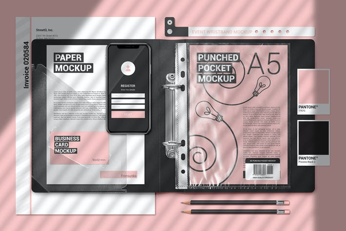 Thumbnail for A5 Papers In Plastic Folder Scene  Mockup