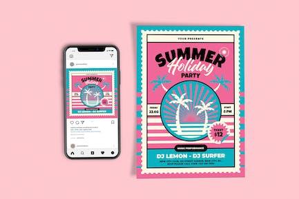 Sommerferien Party-Vorlagen-Set