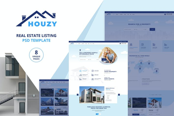 Thumbnail for Houzy | Real Estate Listing PSD Template