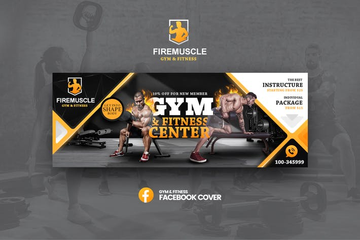 Thumbnail for Firemuscle Gym & Fitness Facebook Template
