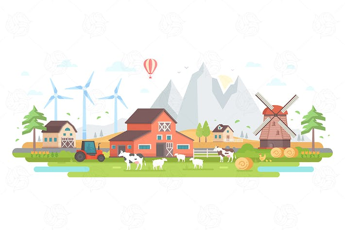 Thumbnail for Farm by the mountains - flat design illustration