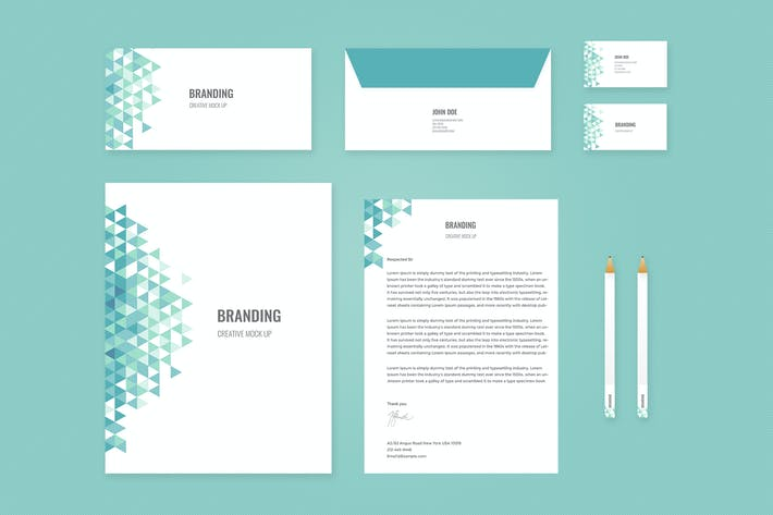 Thumbnail for Branding Identity Mock Up - Teal Triangles