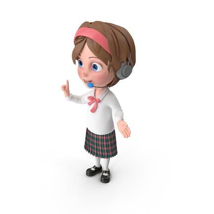 Cartoon Girl Wearing Headset