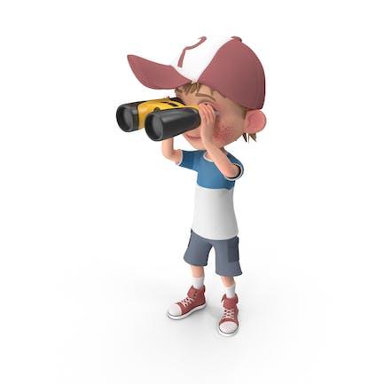 Cartoon Boy Harry Blick durch Fernglas