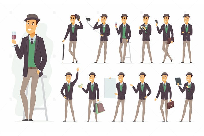 Cover Image For Stylish man - vector cartoon people character set