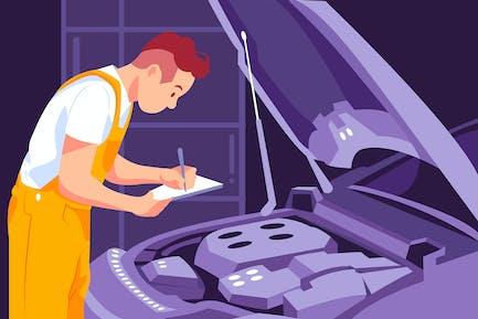 Car repairman working at the garage