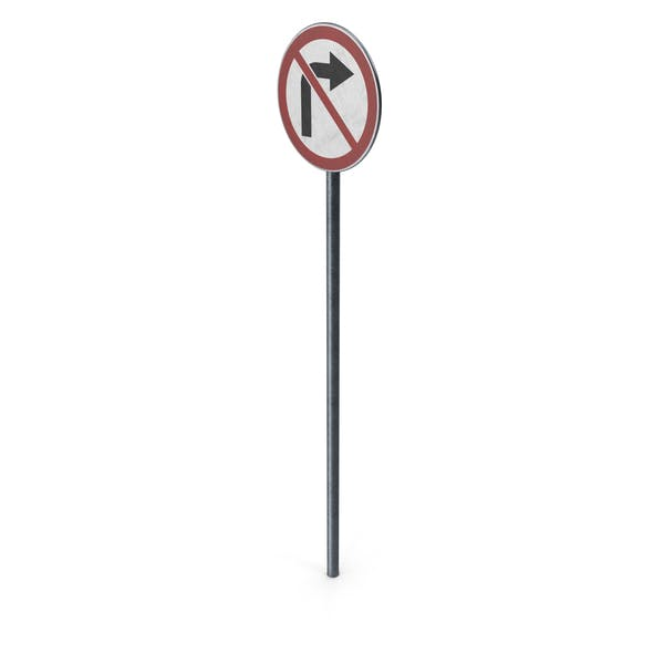Traffic Sign No Right Turn With Pole