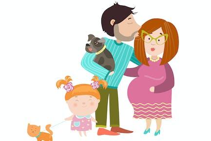 Glückliche Eltern mit schwangeren Bauch. Vektor