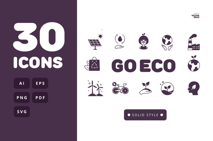 Thumbnail for 30 Go Eco Solid Style Icons Pack
