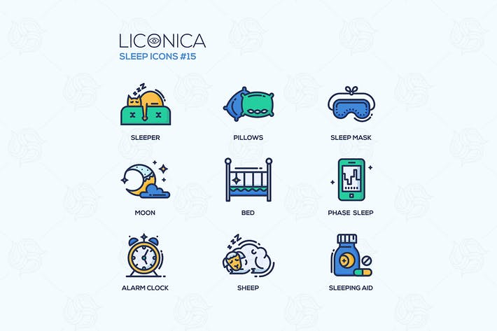 Thumbnail for Sleep - coloured modern single line icons set