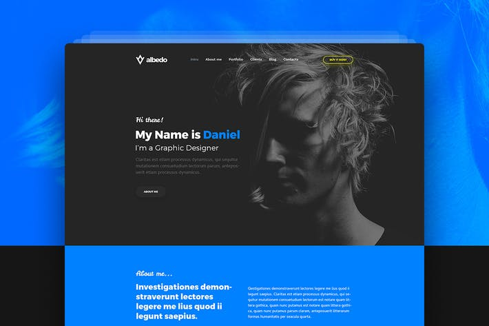 Thumbnail for Albedo – Personal Onepager PSD Template